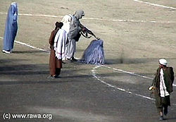 Public execution of a woman by the Taliban