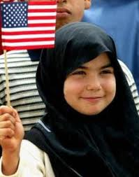Iraqi girl U.S. flag