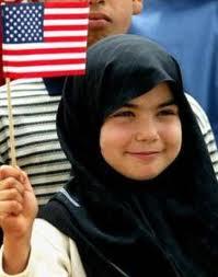 Iraqi girl U.S. flag